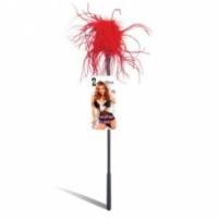 Набор Ласкающая палочка с красными перьями feather tickler lf1460-red